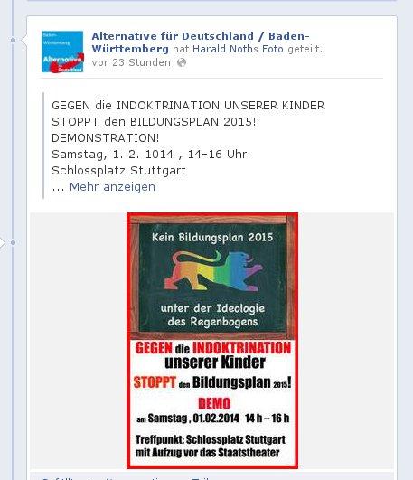 AfD-BaWü bewirbt homophobe Demo