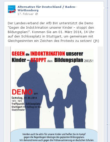 AfD mobilisiert erneut zu Demo gegen Bildungsplan 2015
