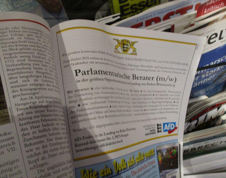 AfD BaWü Anzeige in Zuerst 6/7-2018