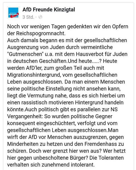 Holcaustbanalisierung AfD-Freunde Kinzigtal