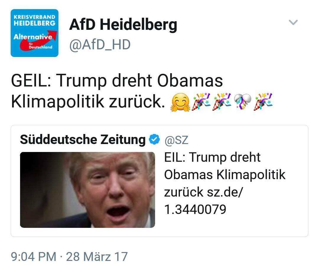AfD Heidelberg pro Trumps Klimapolitik