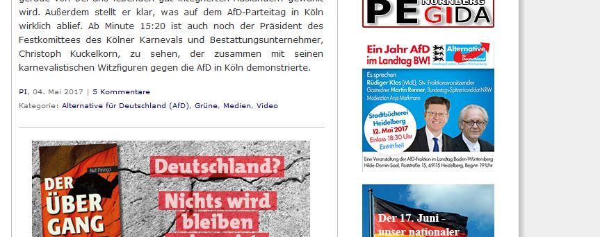 Veranstaltung AfD Heidelberg Werbung auf PI-News