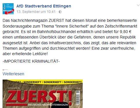 AfD Ettlingen wirbt für ZUERST!