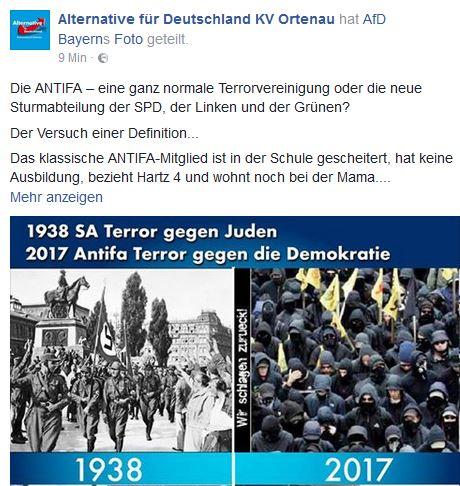 AfD Ortenau vergleich Antifa mit SA