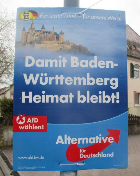AfD-Plakat mit Hohenzollern-Burg