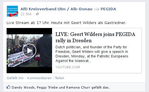 AfD Ulm/Alb-Donau verlinkt Wilders-Rede