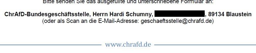 ChrAfD-Bundesgeschäftsstelle in Blaustein