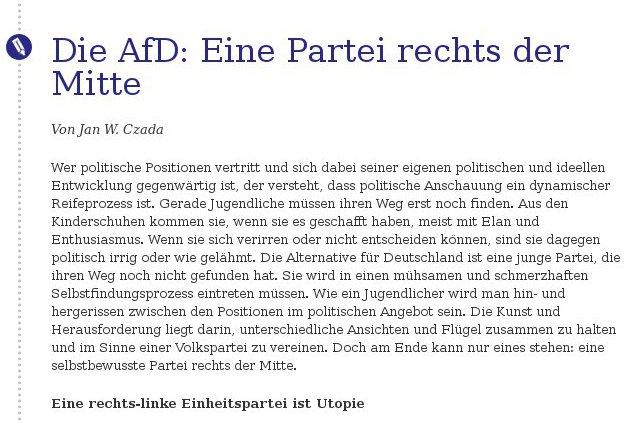 Jan Czada: AfD ist Partei rechts der Mitte