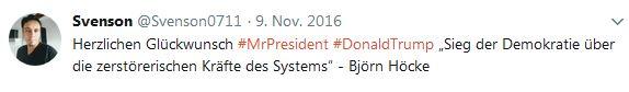 Sven Uwe Epple begrüßt die Wahl Trumps