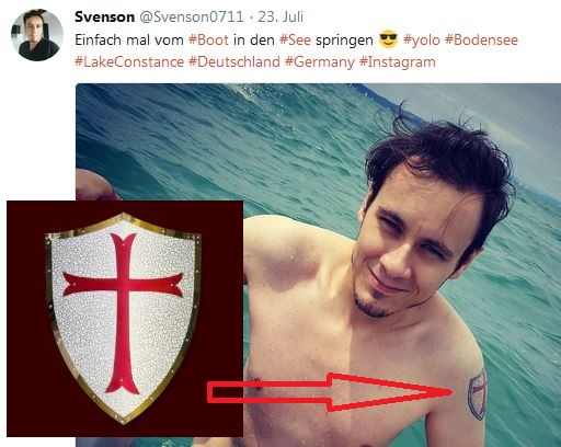 Sven Uwe Epple mit Tempelritter-Tattoo