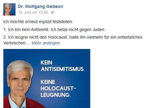 Gedeon will kein Antisemit sein