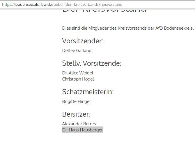 Hausberger AfD-Kreisbeisitzer Bodensee