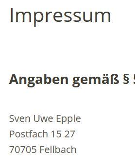 Impressum Sven Uwe Epple