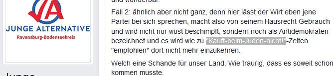 JA Ravensburg betreibt Holocaustbanalsisierung