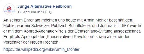 Junge Alternative heilbronn erinnert an Armin Mohler