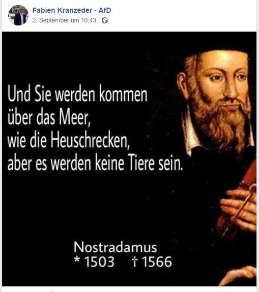 Kranzeders Bezug auf Nostradamus