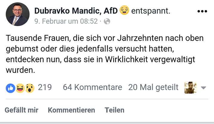 Mandic twittert gegen MeToo