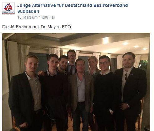 JA Freiburg und FPÖ-MdEP Georg Mayer