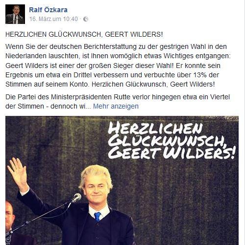 Özkara gratuliert Wilders