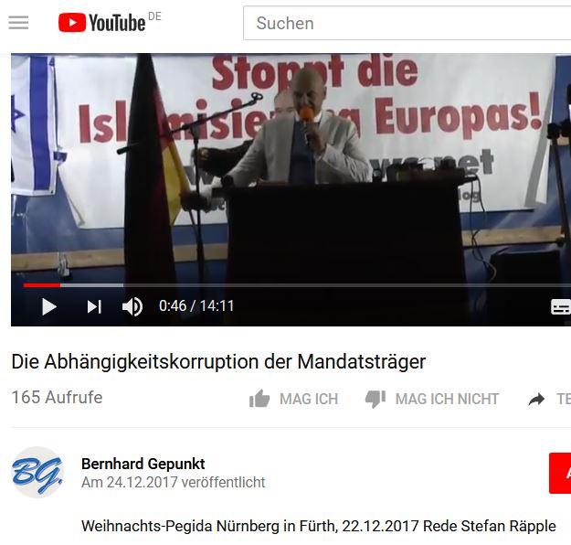 Raepple als PEGIDA-Redner in Fürth