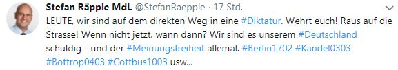 Räpple warnt vor Diktatur