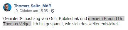 Veigel als Freund von Thomas Seitz