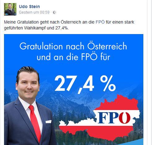 Udo Stein gratuliert FPÖ